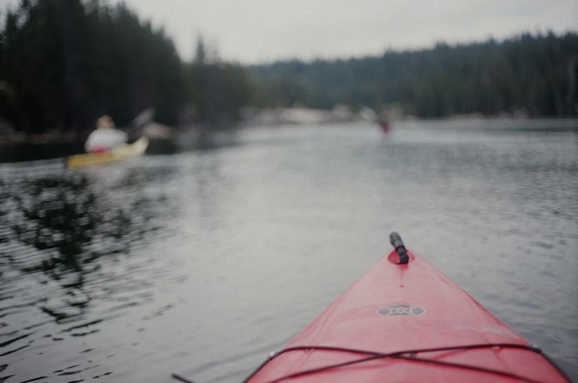 Cramped Up Utica Reservoir red kayak