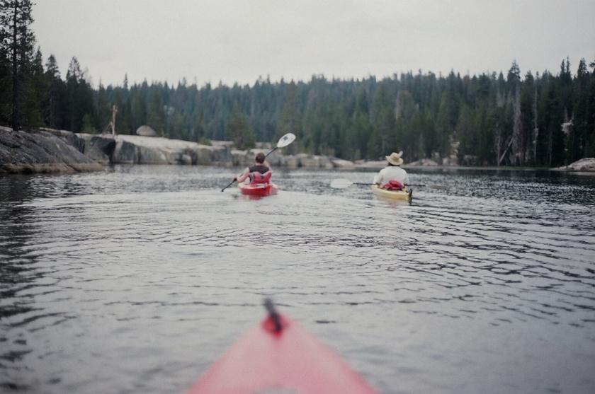 Cramped Up Utica Reservoir red kayak pair