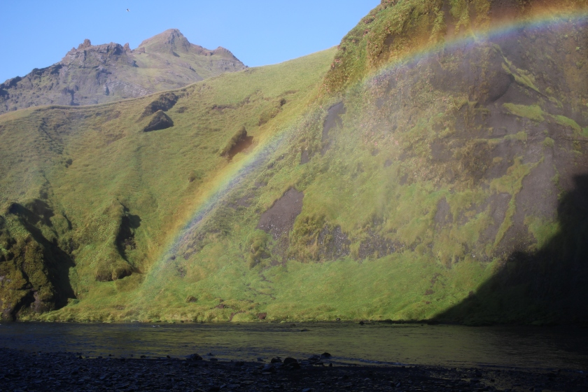 Cramped Up Iceland Skogafoss rainbow green