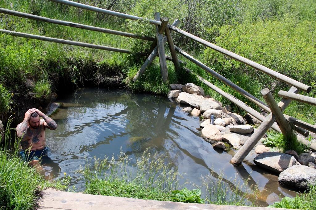 cramped up road trip montana hot spring